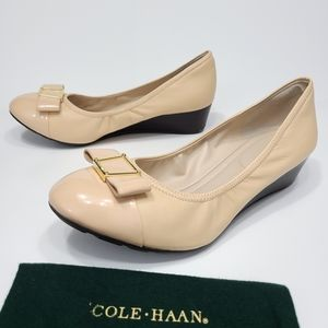 Cole Haan Emory Shoes Bow Leather Wedge Slip Ons